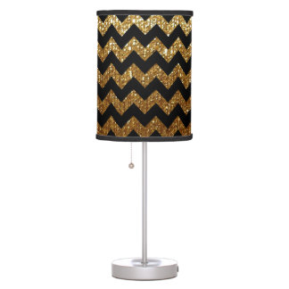 black chevron on gold color desk lamp