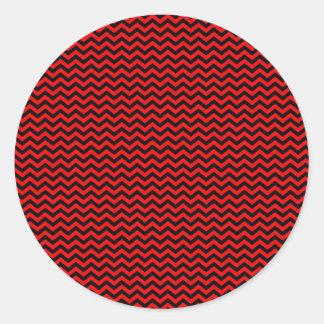 Black Chevron on Red Classic Round Sticker