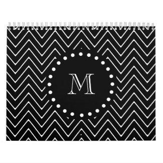 Black Chevron Pattern | Black Monogram Calendar