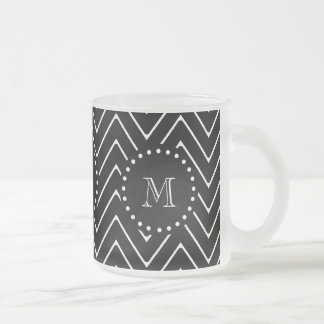 Black Chevron Pattern   Black Monogram Frosted Glass Coffee Mug
