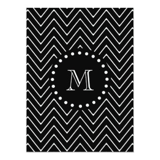 Black Chevron Pattern | Black Monogram 6.5x8.75 Paper Invitation Card