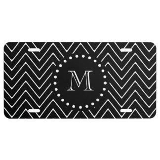 Black Chevron Pattern | Black Monogram License Plate