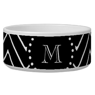 Black Chevron Pattern | Black Monogram Pet Food Bowls