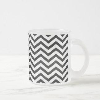 Black Chevron Pattern Frosted Glass Coffee Mug