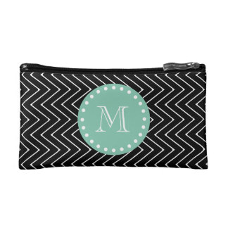 Black Chevron Pattern | Mint Green Monogram Cosmetic Bag