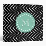 Black Chevron Pattern   Mint Green Monogram Vinyl Binder