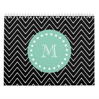 Black Chevron Pattern | Mint Green Monogram Calendar