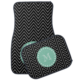 Black Chevron Pattern | Mint Green Monogram Car Mat
