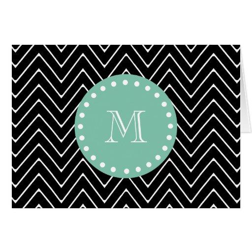 Black Chevron Pattern | Mint Green Monogram Greeting Card