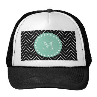 Black Chevron Pattern   Mint Green Monogram Trucker Hat