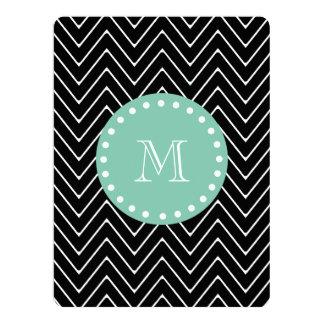 Black Chevron Pattern | Mint Green Monogram 6.5x8.75 Paper Invitation Card