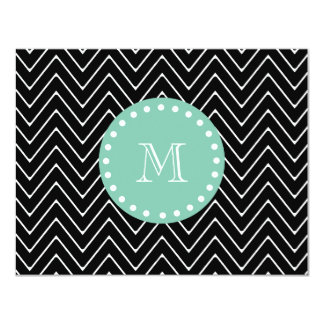 Black Chevron Pattern | Mint Green Monogram 4.25x5.5 Paper Invitation Card