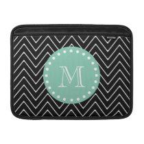 Black Chevron Pattern | Mint Green Monogram MacBook Air Sleeve