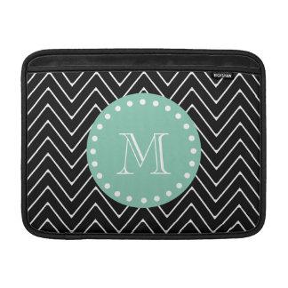 Black Chevron Pattern   Mint Green Monogram MacBook Air Sleeve