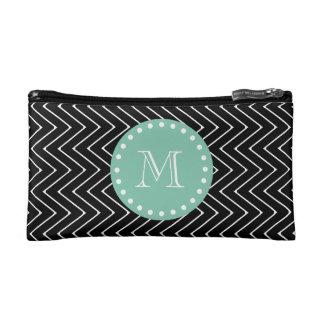 Black Chevron Pattern | Mint Green Monogram Makeup Bag
