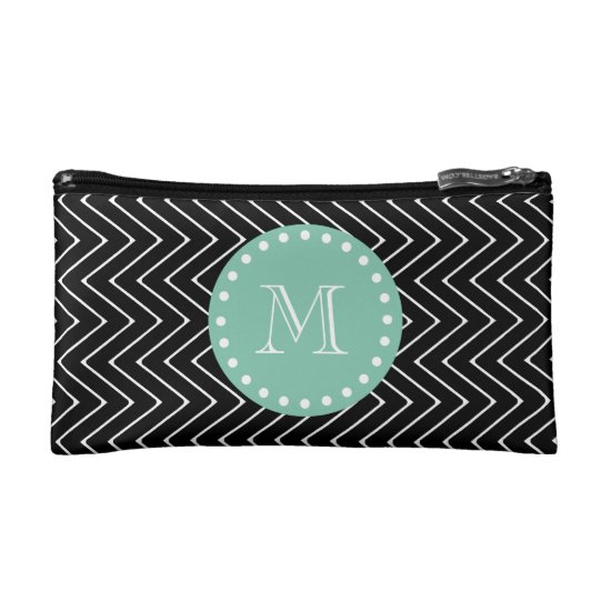 Black Chevron Pattern | Mint Green Monogram Makeup Bag