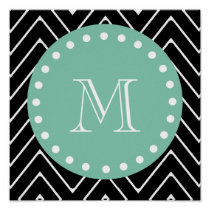 Black Chevron Pattern | Mint Green Monogram Poster