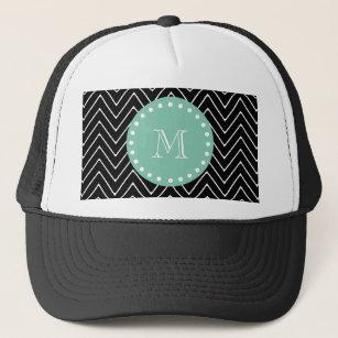 2e0f59f8 Black Chevron Pattern | Mint Green Monogram Trucker Hat