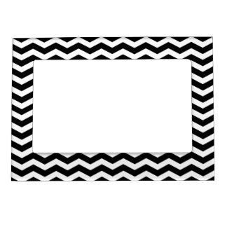 Black Chevron Pattern Picture Frame Magnet