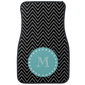 Black Chevron Pattern | Teal Monogram Car Mat