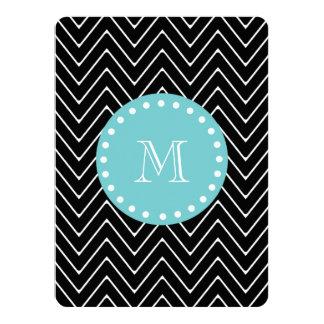 Black Chevron Pattern | Teal Monogram 5.5x7.5 Paper Invitation Card