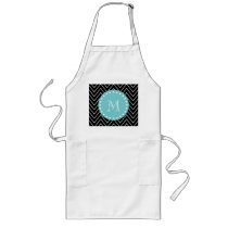 Black Chevron Pattern | Teal Monogram Long Apron
