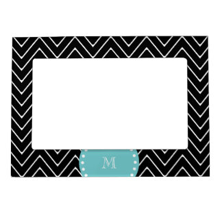 Black Chevron Pattern | Teal Monogram Magnetic Picture Frame