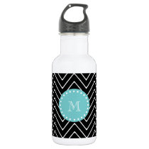 Black Chevron Pattern | Teal Monogram Water Bottle
