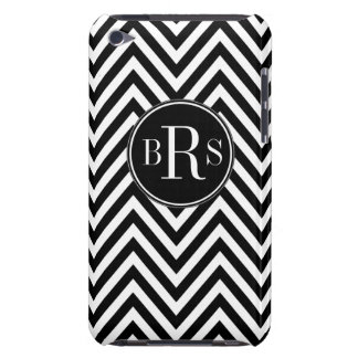 Black Chevron Pattern, Your Initials Barely There iPod Cover
