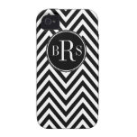 Black Chevron Pattern, Your Initials Case-Mate iPhone 4 Covers