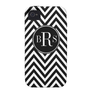 Black Chevron Pattern, Your Initials iPhone 4 Cover