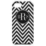Black Chevron Pattern, Your Initials iPhone 5 Cover