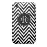 Black Chevron Pattern, Your Initials Case-Mate iPhone 3 Case