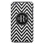 Black Chevron Pattern, Your Initials iPod Case-Mate Case