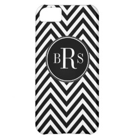 Black Chevron Pattern, Your Initials Cover For iPhone 5C