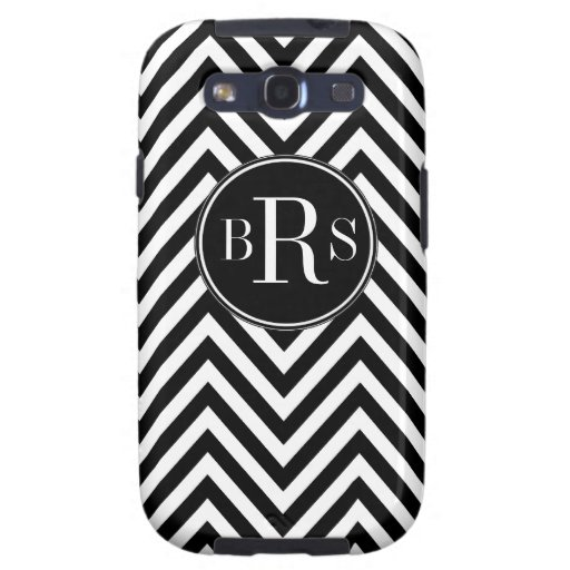 Black Chevron Pattern, Your Initials Galaxy SIII Cover