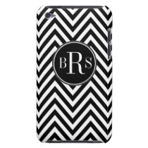 Black Chevron Pattern, Your Initials Case-Mate iPod Touch Case