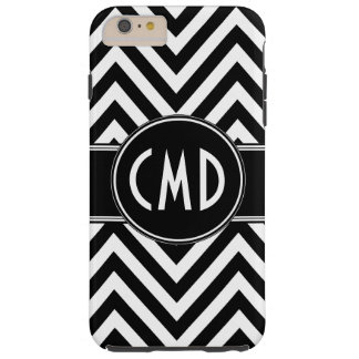 BLACK CHEVRON PATTERN YOUR MONOGRAM INITIALS TOUGH iPhone 6 PLUS CASE