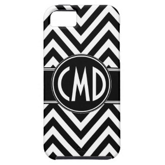 BLACK CHEVRON PATTERN YOUR MONOGRAM INITIALS iPhone 5 COVER