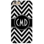 BLACK CHEVRON PATTERN YOUR MONOGRAM INITIALS BARELY THERE iPhone 6 PLUS CASE