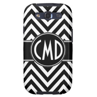 BLACK CHEVRON PATTERN YOUR MONOGRAM INITIALS GALAXY S3 COVER