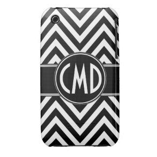 BLACK CHEVRON PATTERN YOUR MONOGRAM INITIALS iPhone 3 COVER
