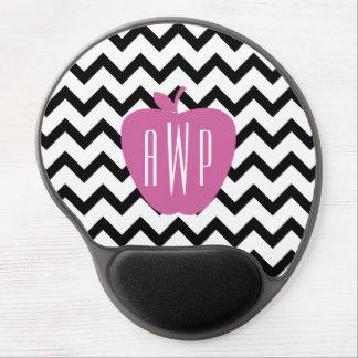 Black Chevron Pink Apple Monogram Teacher Gel Mouse Pad