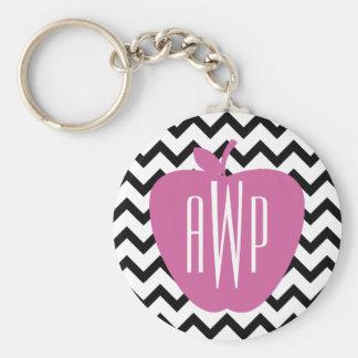 Black Chevron Pink Apple Monogram Teacher Keychain