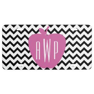 Black Chevron Pink Apple Monogram Teacher License Plate