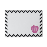 Black Chevron Pink Apple Monogram Teacher Post-it® Notes