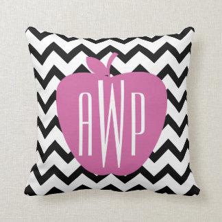 Black Chevron Pink Apple Monogram Teacher Throw Pillow