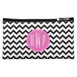 Black Chevron Pink Monogram Cosmetics Bags