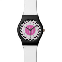 Black Chevron Pink Monogram Wrist Watch