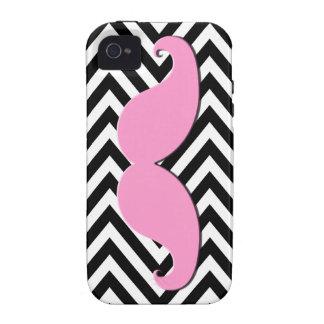 Black Chevron Pink Mustache iPhone 4 Case